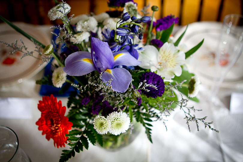 floral arrangement at small wedding